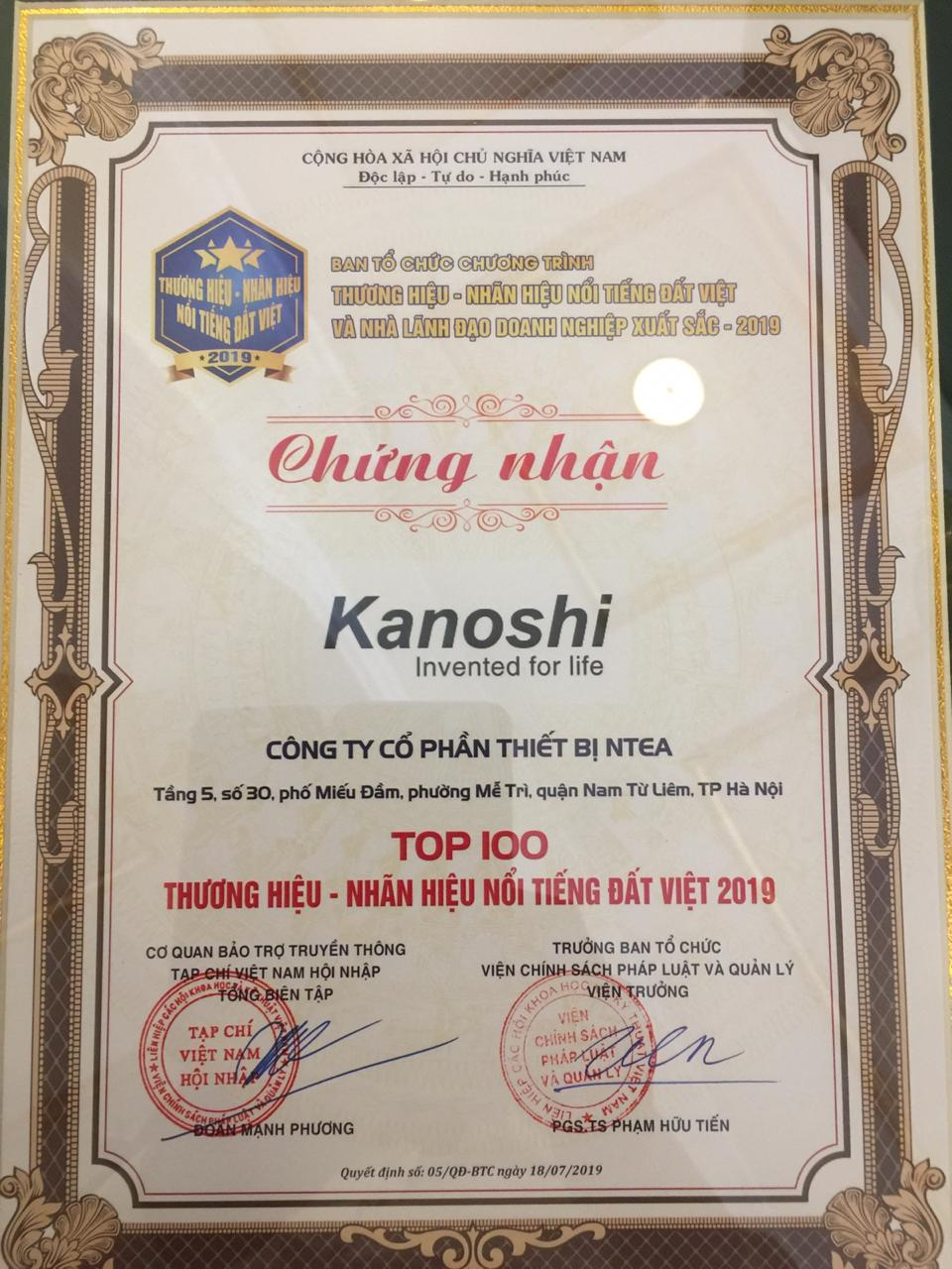 NHÃN HIỆU KANOSHI VINH DỰ ĐÓN NHẬN GIẢI THƯỞNG TOP 100 THƯƠNG HIỆU- NHÃN HIỆU ĐẤT VIỆT NĂM 2019