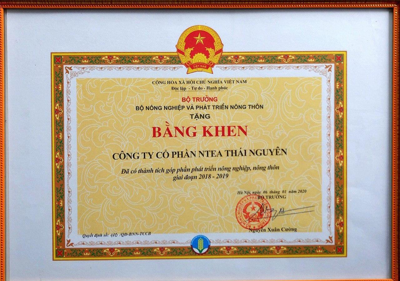 NTEA Thái Nguyên vinh dự nhận bằng khen của bộ nông nghiệp phát triển nông thôn