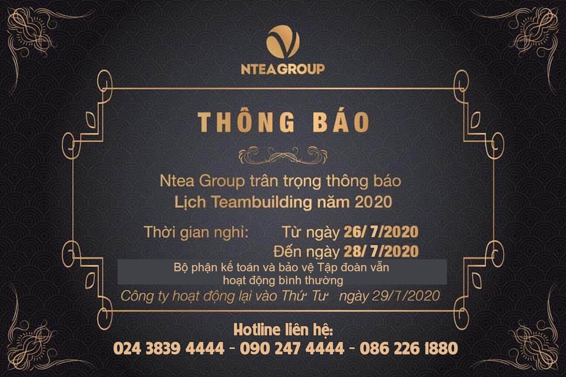 Thông báo chương trình Team building Ntea Group 2020